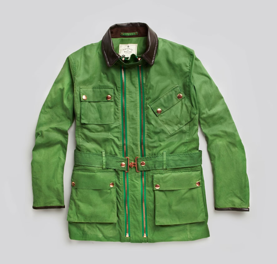 Private White V.C. Apple Green Twin Track Motorcycle Jacket
