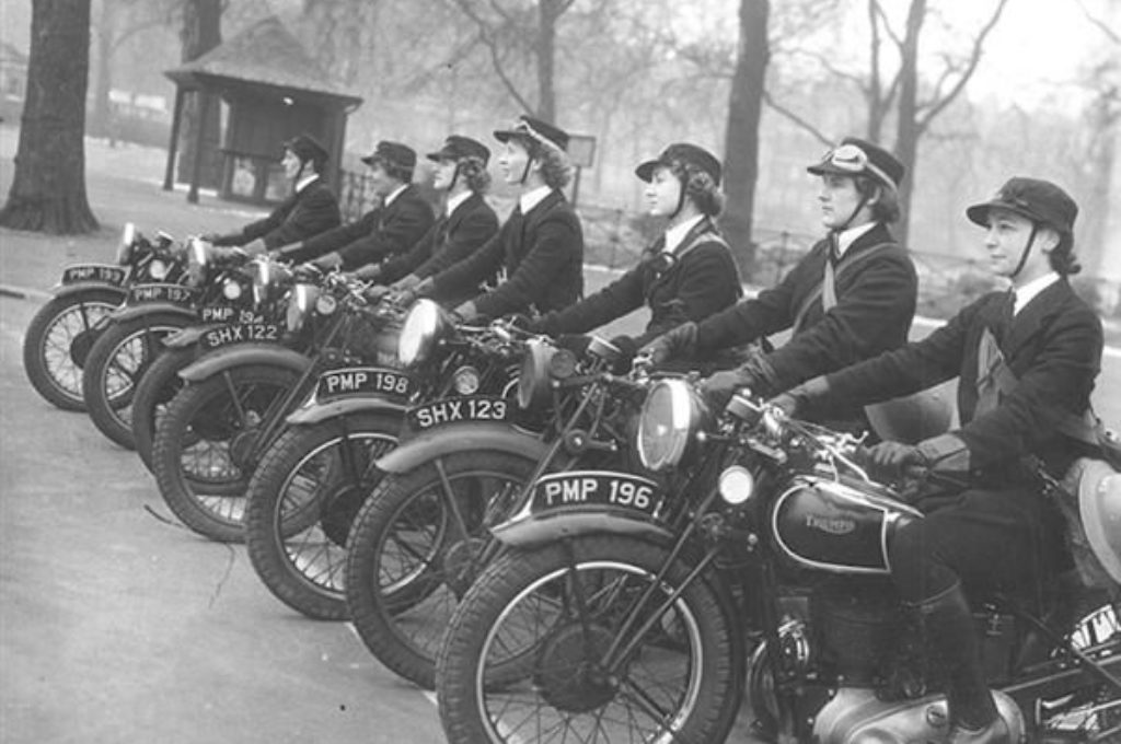 WRNS Despatch Riders on their Triumph motorcycles